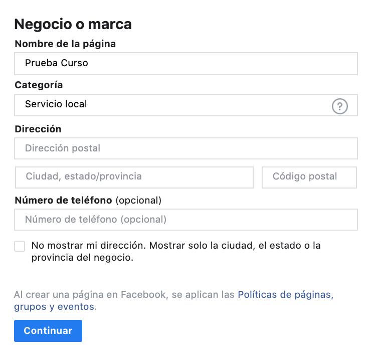 Crear una pagina de Facebook